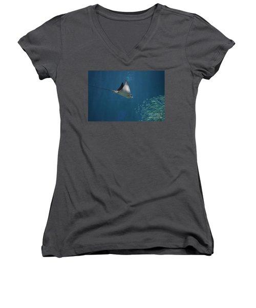 Stringray Heading Towards Fish Women's V-Neck T-Shirt (Junior Cut) by DejaVu Designs