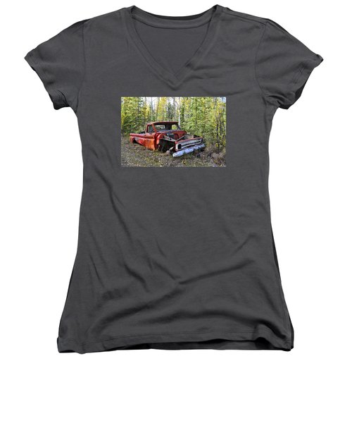 Women's V-Neck T-Shirt (Junior Cut) featuring the photograph Stripped Chevy by Cathy Mahnke