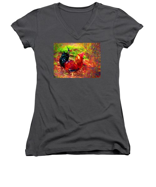 Strutting In Living Color Women's V-Neck T-Shirt (Junior Cut) by Joyce Dickens