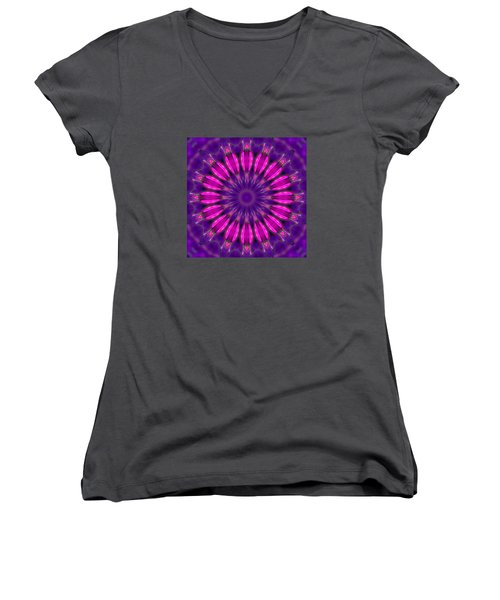 Women's V-Neck T-Shirt (Junior Cut) featuring the photograph Study In Pink And Purple by I'ina Van Lawick