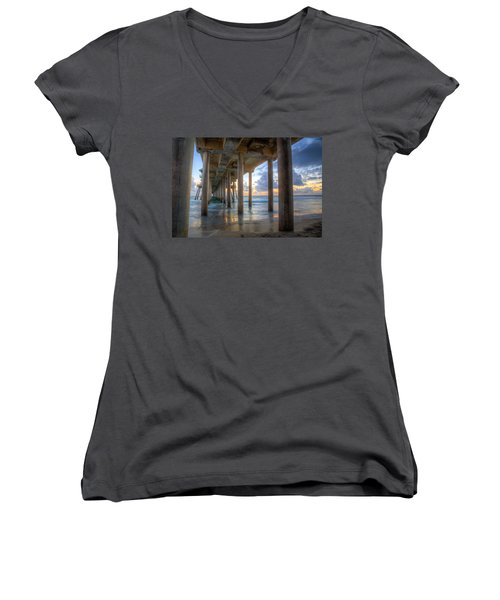 Subtle Pier Sunset Women's V-Neck (Athletic Fit)