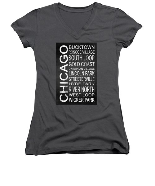 Subway Chicago 2 Women's V-Neck T-Shirt (Junior Cut) by Melissa Smith