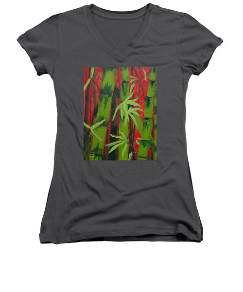 Sultry Bamboo Forest Acrylic Painting Women's V-Neck T-Shirt