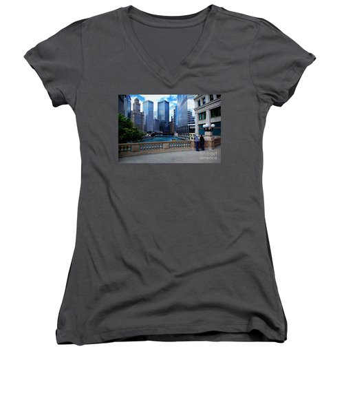 Summer Breeze On The Chicago River - Color Women's V-Neck (Athletic Fit)