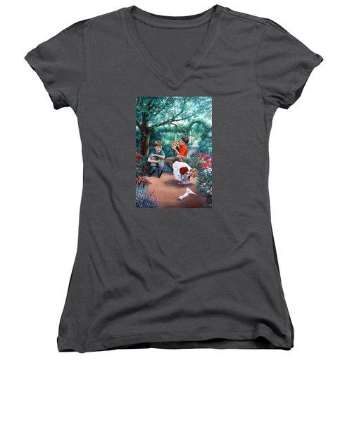 Summer Days Women's V-Neck T-Shirt (Junior Cut) by Vivien Rhyan
