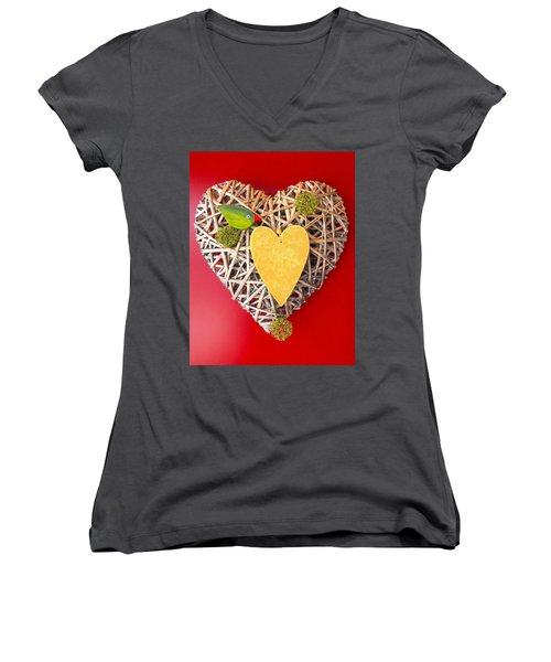 Women's V-Neck T-Shirt (Junior Cut) featuring the photograph Summer Heart by Juergen Weiss