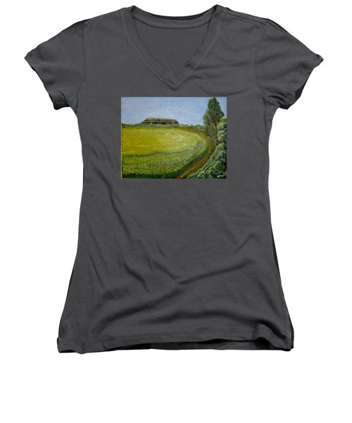 Summer In Canola Field Women's V-Neck (Athletic Fit)