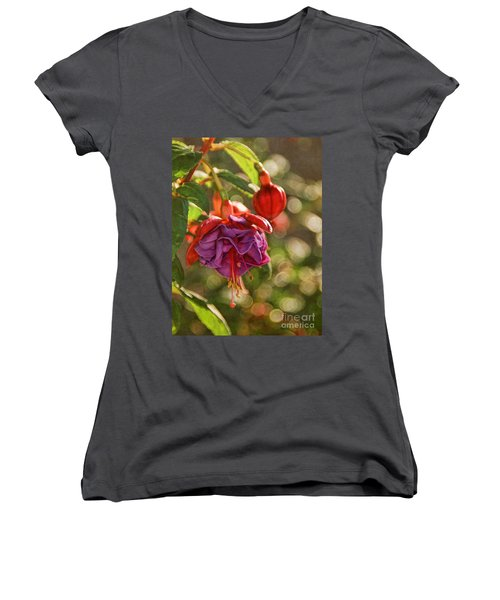 Women's V-Neck T-Shirt (Junior Cut) featuring the photograph Summer Jewels by Peggy Hughes