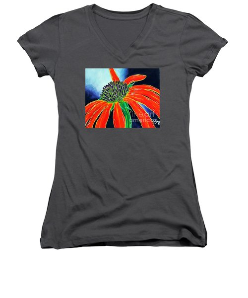 Women's V-Neck T-Shirt (Junior Cut) featuring the painting Summer Kissed Cone Flower by Jackie Carpenter