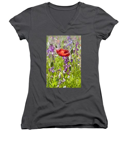 Women's V-Neck T-Shirt (Junior Cut) featuring the photograph Summer by Lana Enderle
