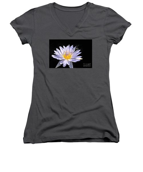 Women's V-Neck featuring the photograph Summer Magic -- Dragonfly On Waterlily On Black by Byron Varvarigos