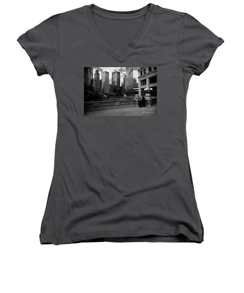 Summer On The Chicago River - Black And White Women's V-Neck (Athletic Fit)