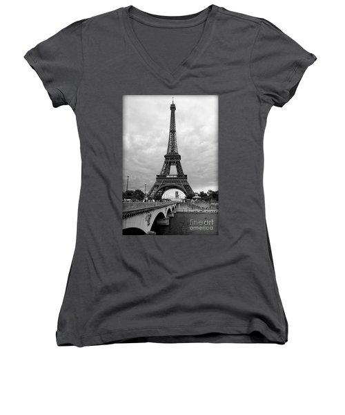 Summer Storm Over The Eiffel Tower Women's V-Neck