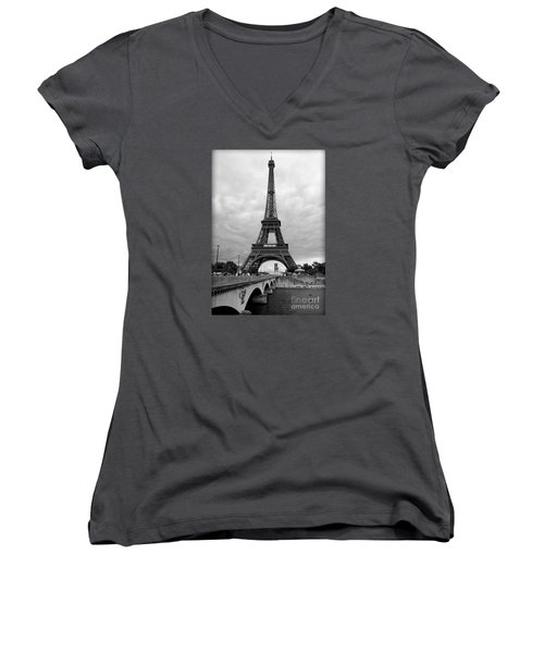 Summer Storm Over The Eiffel Tower Women's V-Neck (Athletic Fit)