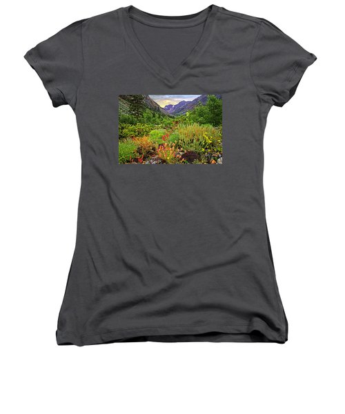 Summer Wildflowers In Lundy Canyon Women's V-Neck