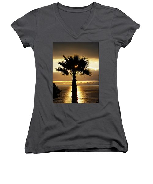 Sun And Palm And Sea Women's V-Neck T-Shirt (Junior Cut) by Joe Schofield