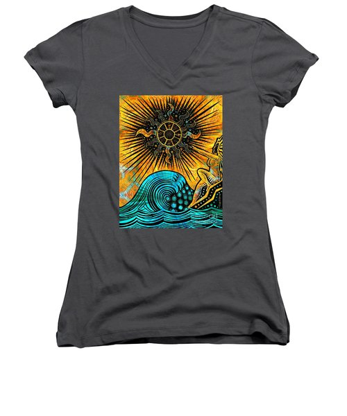 Big Sur Sun Goddess Women's V-Neck T-Shirt (Junior Cut) by Joseph J Stevens