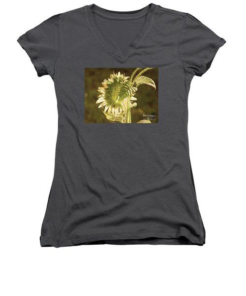 Women's V-Neck T-Shirt (Junior Cut) featuring the photograph Sun-lite Sunflowwer by Donna Brown