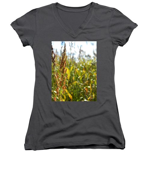 Sun Of Life Women's V-Neck T-Shirt (Junior Cut) by Andrea Anderegg