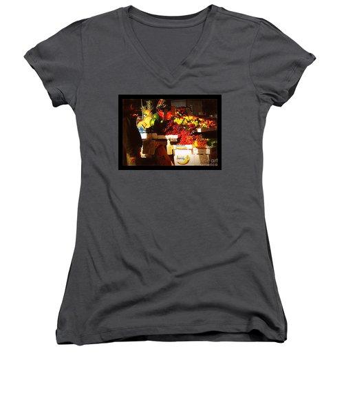 Sun On Fruit Women's V-Neck T-Shirt (Junior Cut) by Miriam Danar
