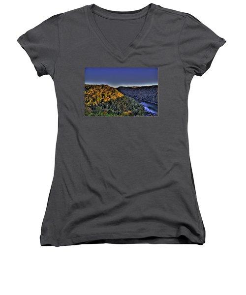 Sun On The Hills Women's V-Neck T-Shirt (Junior Cut) by Jonny D