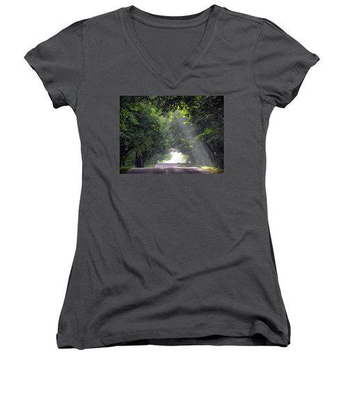 Sun Rays On Waters End Road Women's V-Neck T-Shirt (Junior Cut) by David T Wilkinson