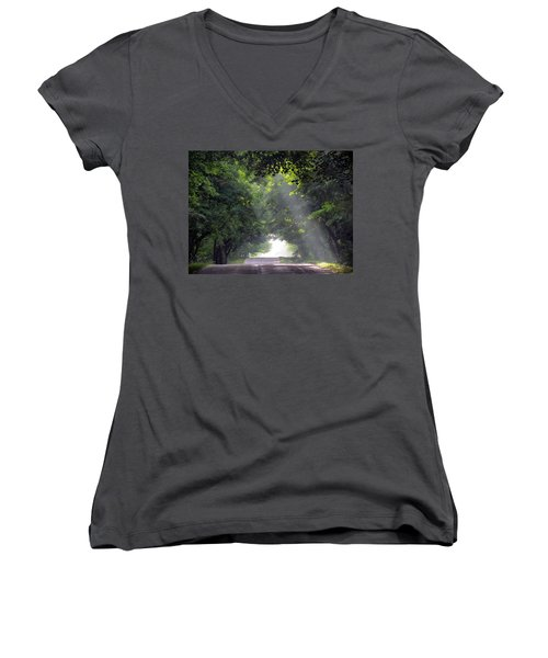 Sun Rays On Waters End Road Women's V-Neck