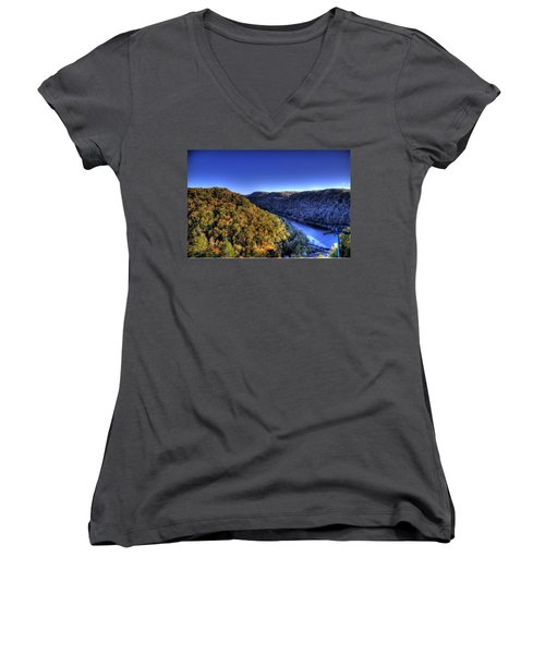 Sun Setting On Fall Hills Women's V-Neck T-Shirt (Junior Cut) by Jonny D