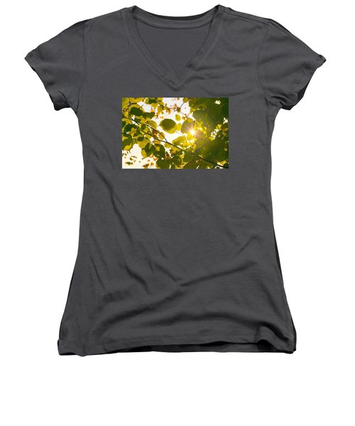 Women's V-Neck T-Shirt (Junior Cut) featuring the photograph Sun Shining Through Leaves by Chevy Fleet