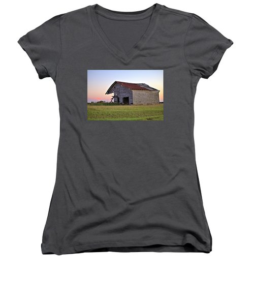 Women's V-Neck T-Shirt (Junior Cut) featuring the photograph Sun Slowly Sets by Gordon Elwell