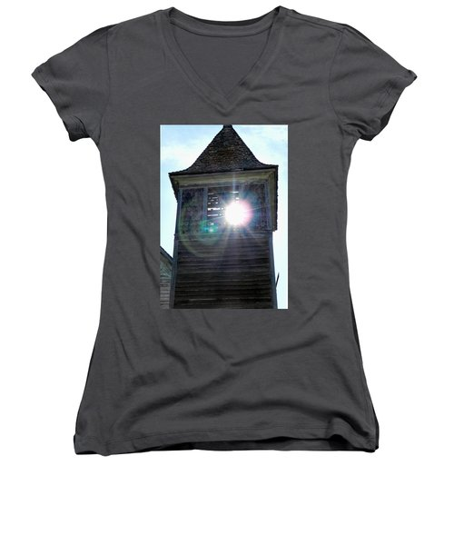 Sun Through The Steeple-by Cathy Anderson Women's V-Neck T-Shirt