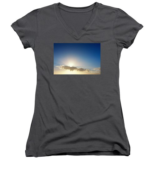 Sunbeams Behind Clouds Women's V-Neck (Athletic Fit)