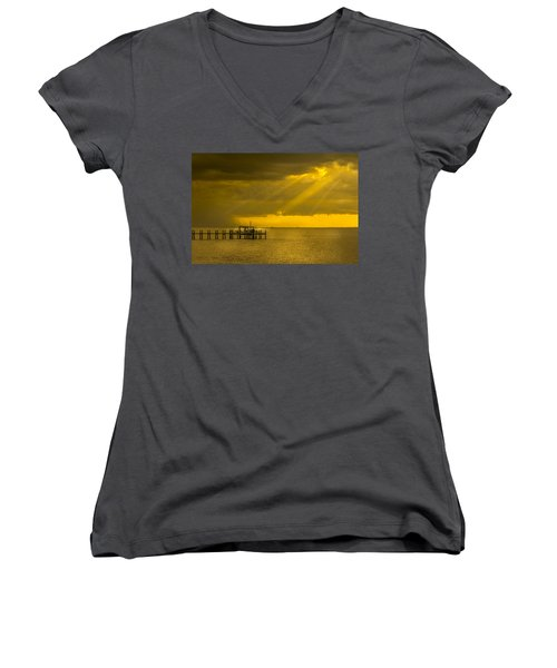Sunbeams Of Hope Women's V-Neck T-Shirt (Junior Cut) by Marvin Spates