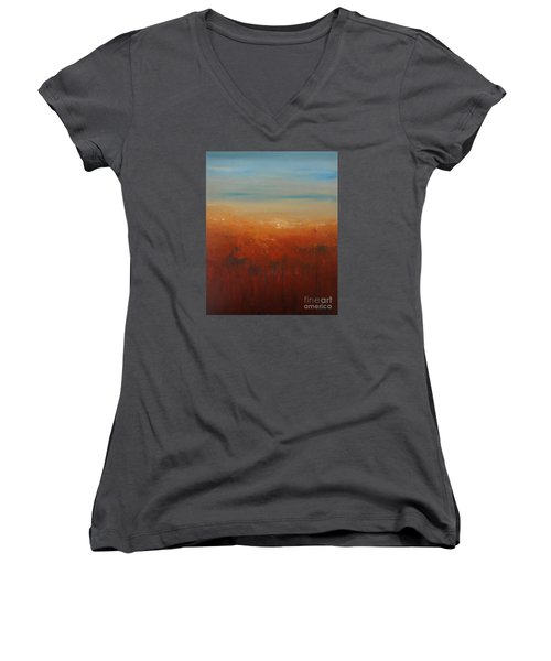 Women's V-Neck T-Shirt (Junior Cut) featuring the painting Sunburnt Country by Jane  See