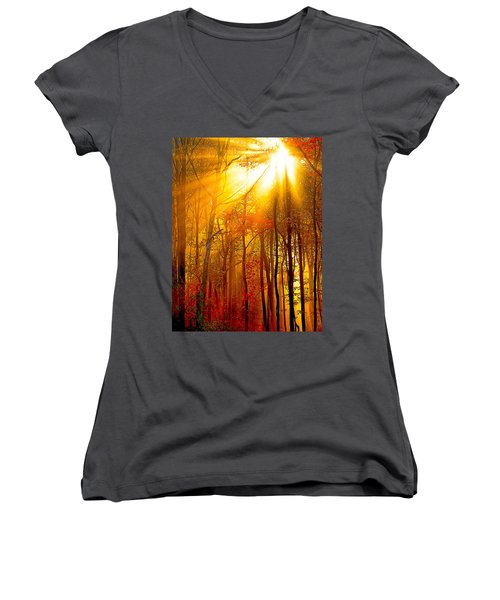 Sunburst In The Forest Women's V-Neck T-Shirt (Junior Cut) by Randall Branham