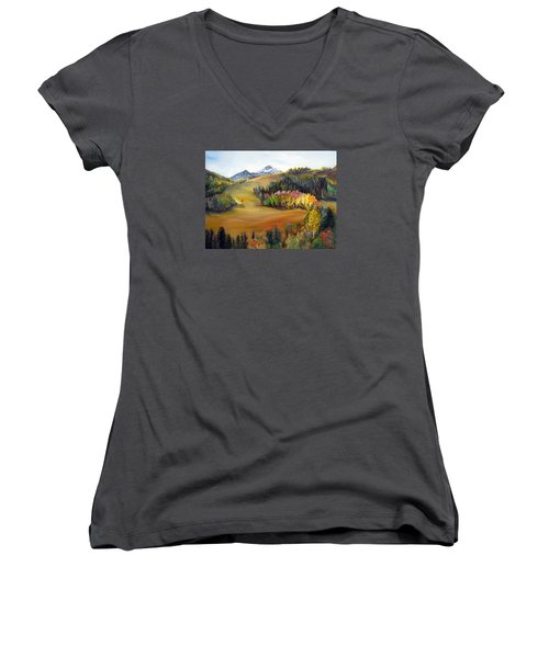 Women's V-Neck T-Shirt (Junior Cut) featuring the painting Sundance And Mt. Timpanogos by LaVonne Hand