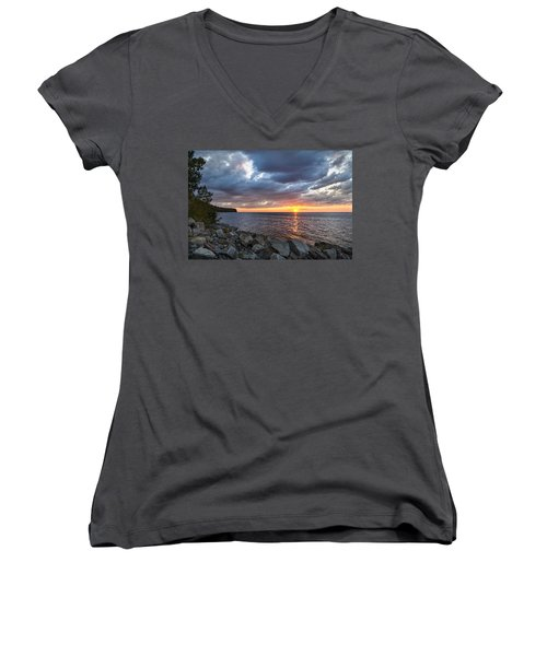Sundown Bay Women's V-Neck T-Shirt (Junior Cut) by Bill Pevlor