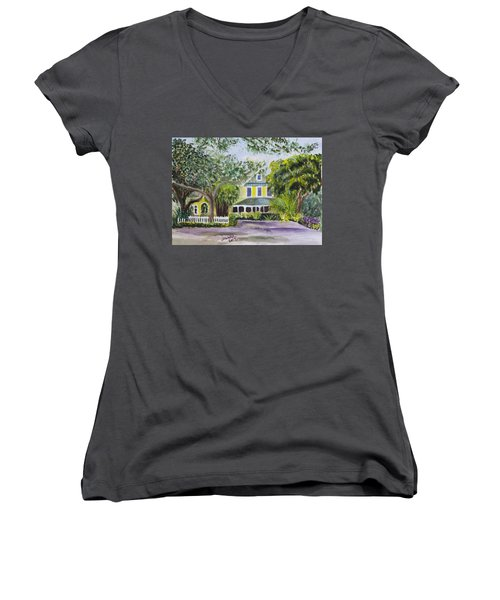 Sundy House In Delray Beach Women's V-Neck T-Shirt (Junior Cut) by Donna Walsh