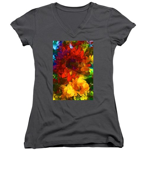 Sunflower 11 Women's V-Neck T-Shirt (Junior Cut) by Pamela Cooper