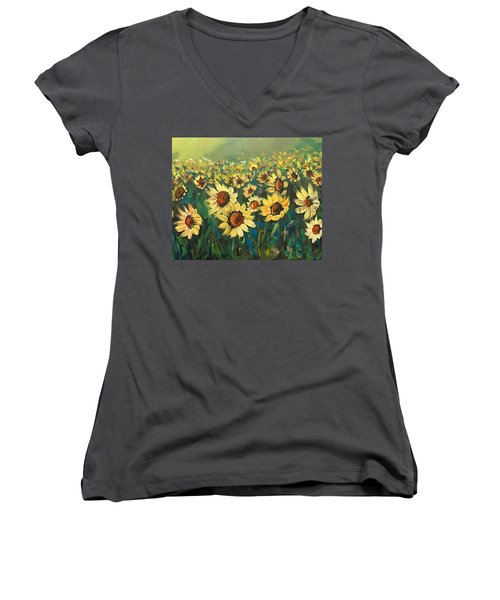 Women's V-Neck T-Shirt (Junior Cut) featuring the painting Sunflower Field by Dorothy Maier