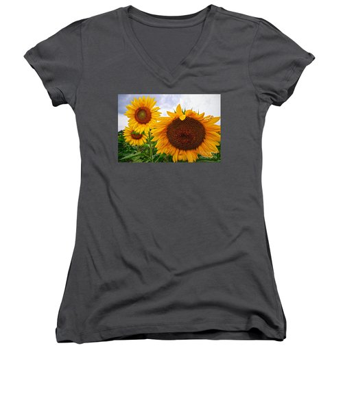Sunflower Mama And Her Daughters  Women's V-Neck