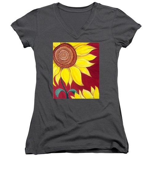 Sunflower On Red Women's V-Neck