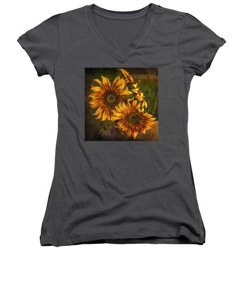 Women's V-Neck T-Shirt (Junior Cut) featuring the photograph Sunflower Trio by Priscilla Burgers