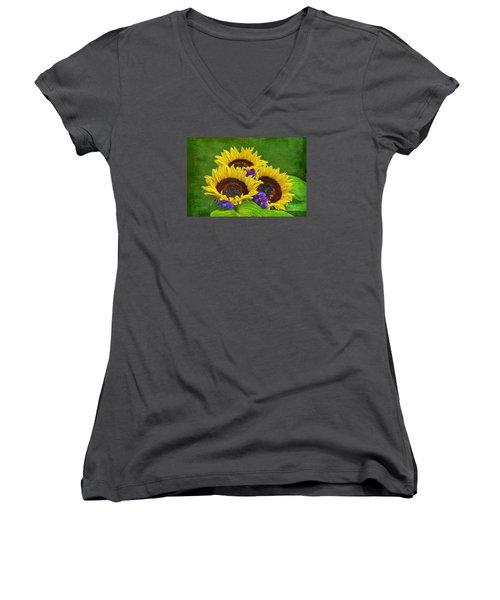 Sunflower Trio Women's V-Neck T-Shirt