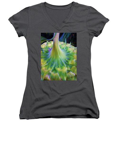 Sunflower...moonside 1 Women's V-Neck T-Shirt (Junior Cut) by Daniel Thompson