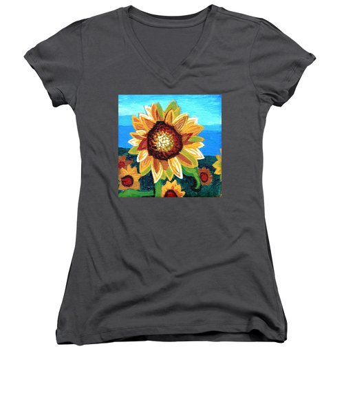 Sunflowers And Blue Sky Women's V-Neck T-Shirt (Junior Cut) by Genevieve Esson