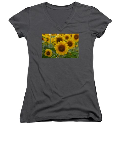 Sunflowers At The Farm Women's V-Neck T-Shirt (Junior Cut) by Denyse Duhaime