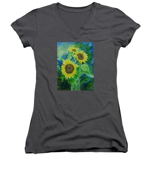 Sunflowers Colorful Sunflower Art Of Original Watercolor Women's V-Neck T-Shirt (Junior Cut) by Elizabeth Sawyer