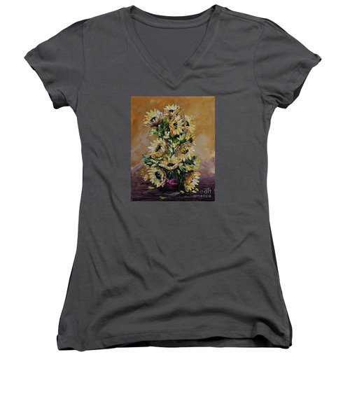 Women's V-Neck T-Shirt (Junior Cut) featuring the painting Sunflowers For You by Teresa Wegrzyn