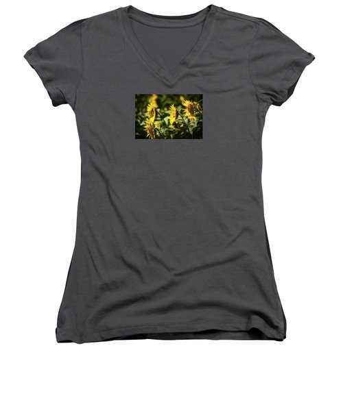 Women's V-Neck T-Shirt featuring the photograph Sunflowers In The Wind by Steven Sparks